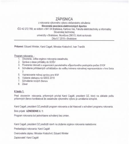 Zápisnica - Výkonný výbor 08.07.2019